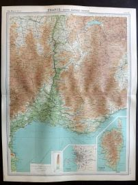 Bartholomew 1922 Large Map. France, South Eastern Section